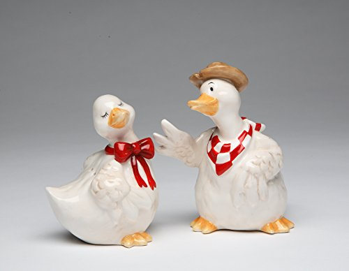 (Cosmos Gifts 61733 Fine Ceramic Farmhouse Duck Couple Wearing Red Bow Tie and Checkered Bandana Salt and Pepper Shakers Set, 4