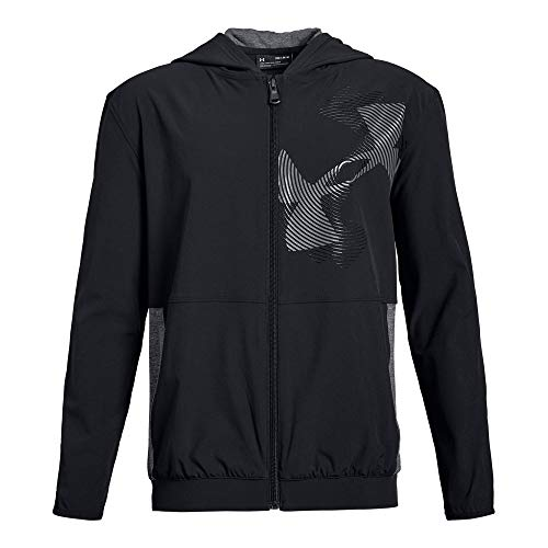 Under Armour Boys Woven Warm Up Jacket, Black (001)/Black, Youth Small