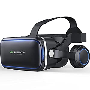 Original VR shinecon 6.0 VR headset version virtual reality glasses Stereo headphones 3D glasses headset helmets Support 4.7-6.0 inch large screen smartphone (With controller SC-B01)