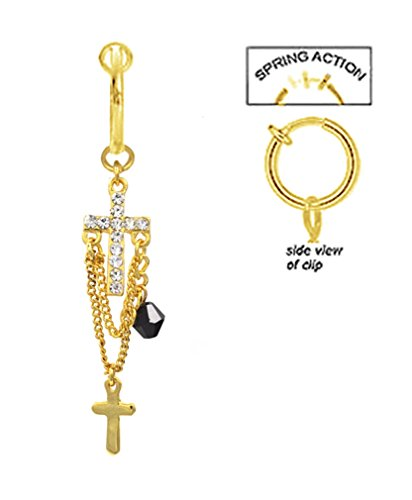 Fake Belly Navel Non Clip on Gold clear cz Cross long dangle gold plated Ring (Fake Cross Ring Belly)