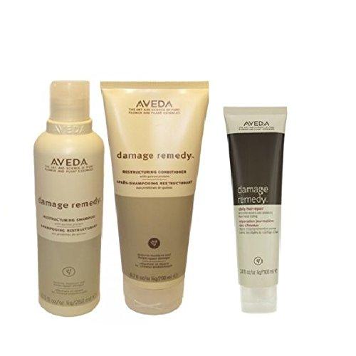 (Aveda Damage Remedy Shampoo 8.5 oz & Conditioner 6.7oz & Daily Hair Repair 3.4 set)