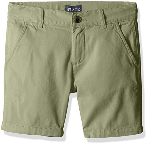 The Children's Place Boys' Big Solid Chino Shorts, Olive Press 12H