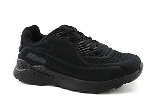 Kids Lace up Seamless Embossed Mesh Breathable Sneaker (Little Kids/Big Kids) (11, Black)