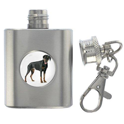 Doberman perro imagen en miniatura petaca de acero 1oz ...