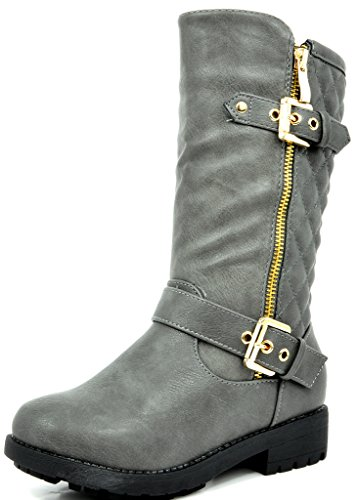 DREAM PAIRS Girls Little Kid Knice Grey Knee High Winter Motorcycle Riding Boots Size 13 M US Little Kid