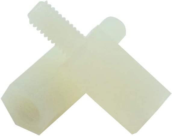 6mm Male to Female Thread Nylon Plastic Hexagon Standoff Spacer Pillars White Hxchen 100Pcs M3 x 20mm