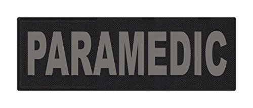 - TACTICAL IDENTIFICATION PATCHES Paramedic ID Patch - 6x2 - Gray Lettering - Black Backing - Hook Fabric