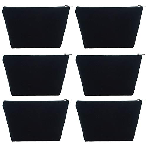 Aspire 6-Pack 12oz Heavy Duty Canvas Storage Bags 9.5 x 5.5 x 3 Inches Black Bags