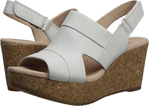 (CLARKS Women's Annadel Ivory Wedge Sandal White Leather 075 W US)