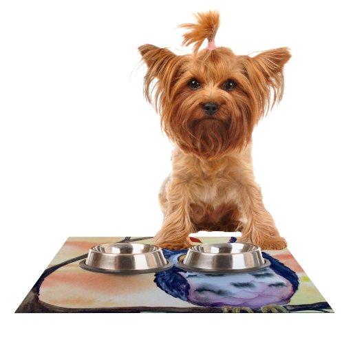 Kess InHouse Padgett Mason Hootie Cutie  Feeding Mat for Pet Bowl, 18 by 13-Inch