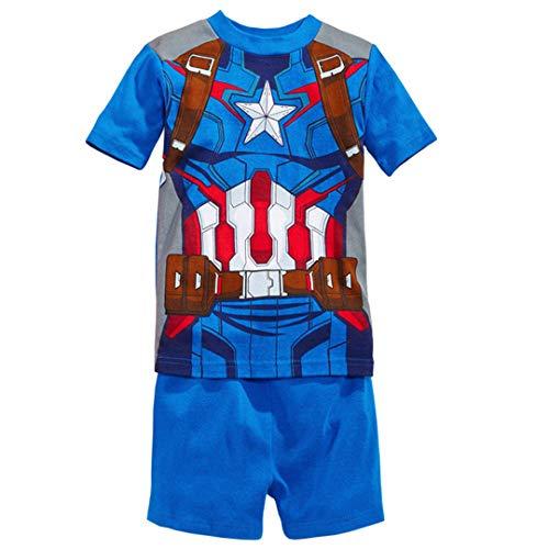 Little boy Summer Short Pajamas Kid Child Superhero Avenger Iron Man American Captain (Captain America, 110CM-5T) ()