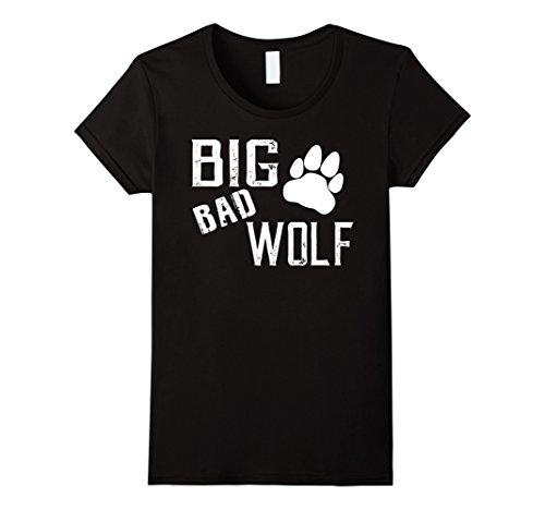 Womens Big Bad Wolf Paw Distressed White Novelty Shirt Medium Black