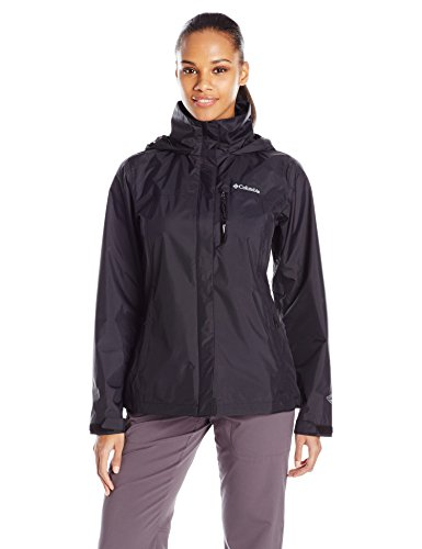 Columbia Women's Pouration Waterproof Rain Jacket, Large, Black