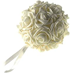 "Homeford FNS008562IVY Soft Touch Foam Kissing Ball Wedding Centerpiece, 6"", Ivory"