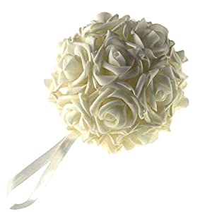 Homeford Firefly Imports Soft Touch Foam Kissing Ball Wedding Centerpiece, 6-Inch, Ivory, 40