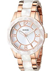 GUESS Womens U0074L2 Stainless Steel Rose Gold-Tone & White Marbellized Watch