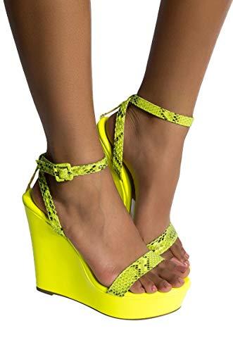 Azalea Wang Neon Blacklight Snake Print Ankle Buckle Platform Wedge SandalsNEON Green_7