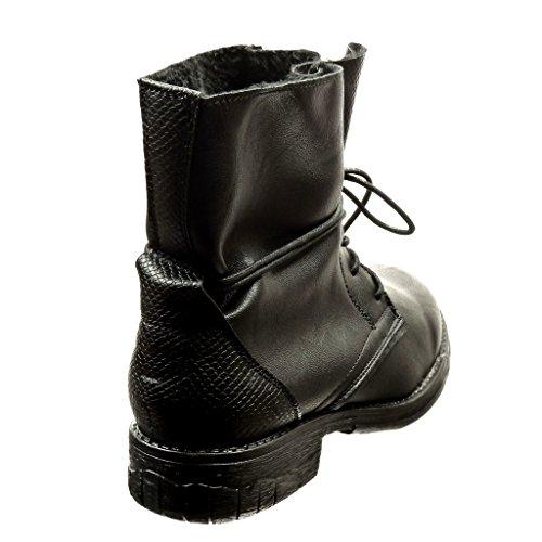 de Tacón Moda Zapatillas derby CM Talón piel mujer de Negro militares Angkorly serpiente 3 botas zapato Botines ancho xOwgqvE
