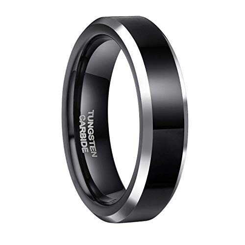 Frank S.Burton 6MM Black Tungsten Ring for Men High Polish Classic Dome Style Comfort Fit Size 9.5 (Pave Style Band)