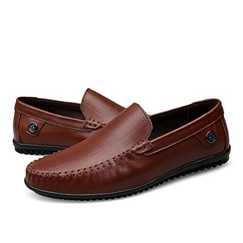 Vamp Scarpe Cricket Marrone Flat on Mocassini Men's Slip Loafer da Heel Vacchetta Ixq4nHSF