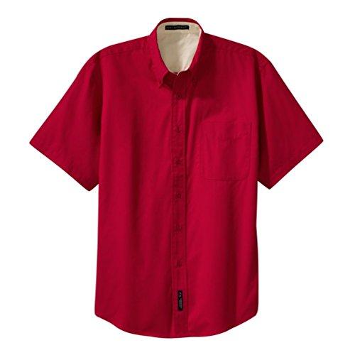 - Port Authority Short Sleeve Easy Care Shirt, Red/Light Stone, Large