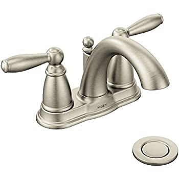 Moen 6610BN Brantford Brushed nickel two-handle high arc bathroom ...