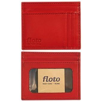 Amazon.com: Floto Rojo piel Tarjeta Caso – Monedero: Clothing