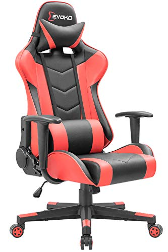 Devoko Ergonomic Gaming Chair Racing Style Adjustable Height High-Back PC Computer Chair with Headrest and Lumbar Support Executive Office Chair Red