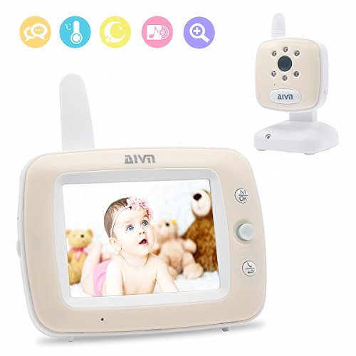 AIVN Video Baby Monitor with 3.5'' LCD Display Digital Camera, Infrared Night Vision, Two Way Talk, Temperature Sensor for Baby Safety