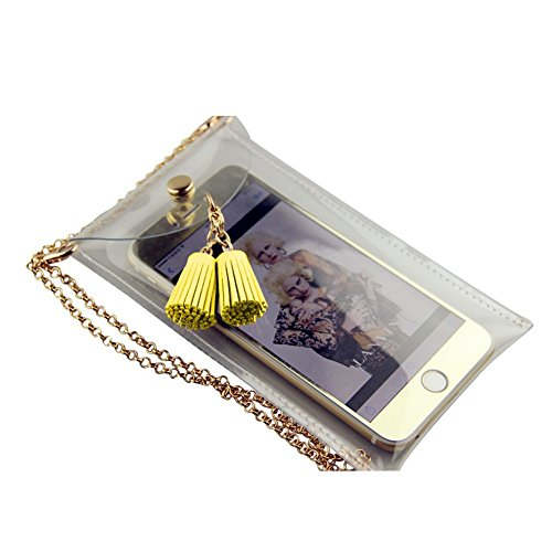 (Mengsha's Transparent Fashionable Mini Clear Cell Phone Passport Purse Bag, Yellow)