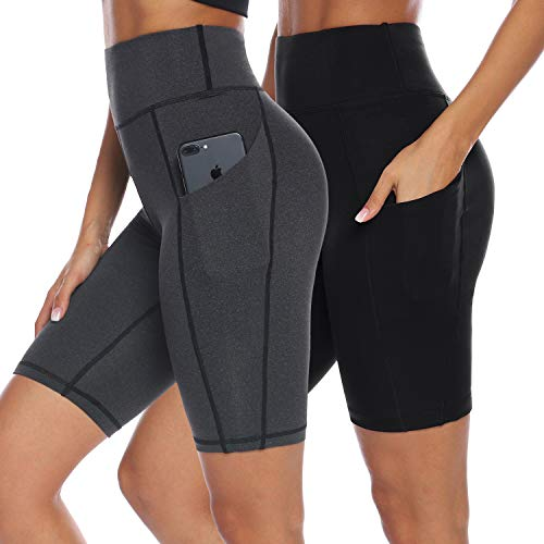 AUU Women's High Waisted Yoga Shorts with Pockets Inseam Workout Shorts