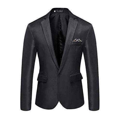 (XLnuln Men's Suit Slim Fit Suit Blazer Two Button Tuxedo Business Wedding Party Jackets Stylish Casual Solid Blazer Black)