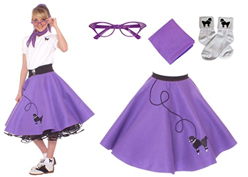 Hip Hop Dance Recital Costumes (Hip Hop 50s Shop 4 Piece Child Poodle Skirt Costume Set, Size Large Purple)