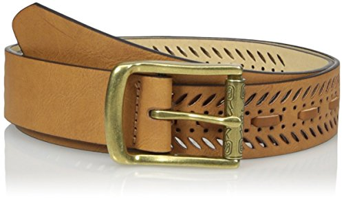 Madden Girl Women's Perforated Pant Belt with Whip Stitch Detail, Cognac, Large