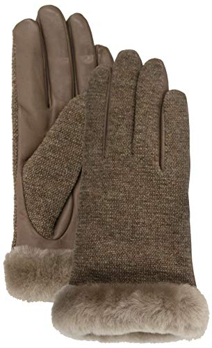 (UGG Women's Short Italian Wool Blend Tech Gloves with Long Pile Sheepskin Trim Stormy Grey LG)