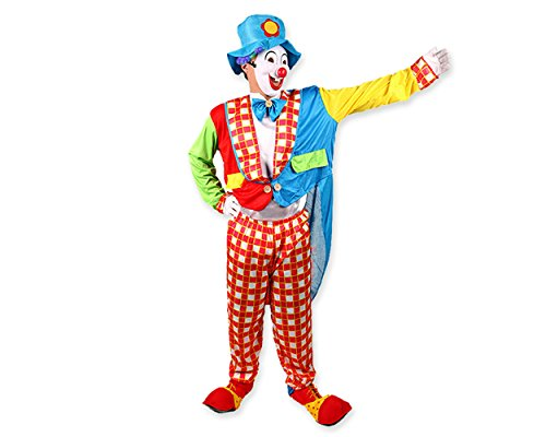 ACE SELECT Halloween Costumes Funny Clown Costume for Party Fancy Dress Circus Costume withClown Mask, Wig and Hat -
