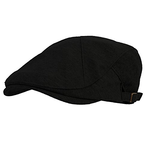 WITHMOONS Modern Cotton Real; newsboy Hat Flat Cap AC3045 (Black)