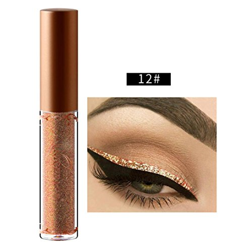 Beauty Metallic Shiny Smoky Eyeshadow, Waterproof Glitter Liquid Eyeliner (L)