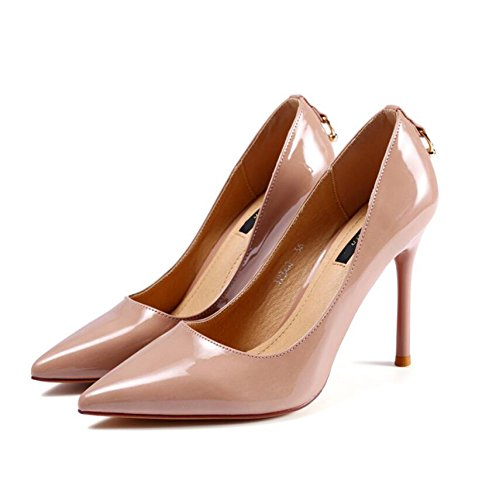 KHSKX-The Pink 10Cm Wedding Shoes In The Spring And Autumn New Tip Paint Leather Shoes Fine With High Heels Followed By The Metal Single Shoes Female 36 ahc19ax
