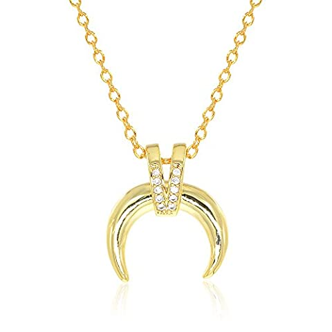 Crescent Moon Necklace Double Horn Pendant 14K Gold Plating Adjustable 16-18 Inch (Gold Buffalo Necklace)