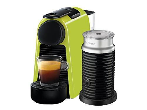 Cafetera Nespresso Essenza Mini con Espumador de leche, Color Verde (Incluye obsequio de 14 cápsulas de café)