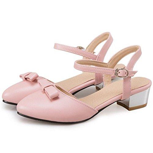 COOLCEPT Mujer Moda Correa de Tobillo Sandalias Tacon Medio Ancho Cerrado Slingback Zapatos Tamano Rosado