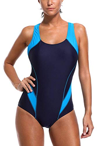 CharmLeaks Women One Piece Padded Swimsuit Exercise Racing Bathing Suit M Blue