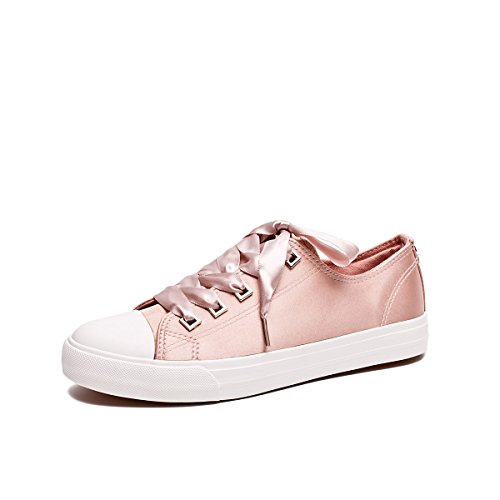 ZGR Womens Fashion Canvas Sneaker Low Cut Lace UPS Casual Shoes Pink Size US8 Fashion Casual Canvas