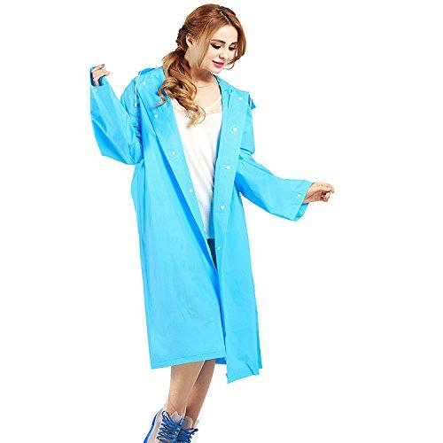 Transparente Impermeable Mujeres EVA Poncho Portable Impermeable Luz Impermeable Largo Uso Rain Coat(140*70 cm) Azul