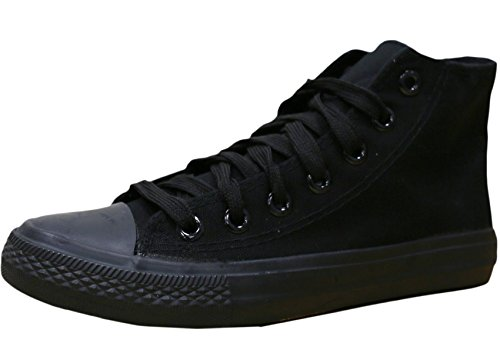 - S-3 Women's High Top Classic Canvas Fashion Sneaker (9 B(M) US, Solid Black)