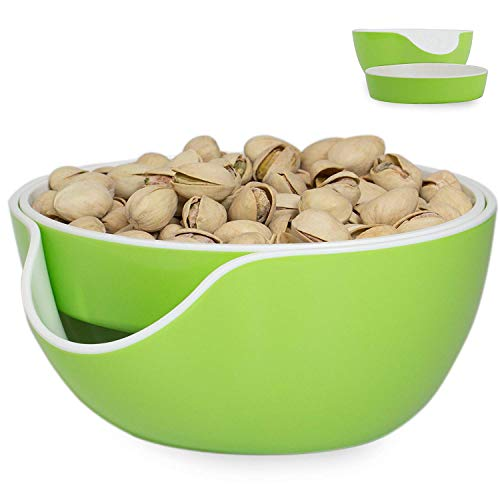 - Pistachio Bowl, Snack Serving Dish Double Nut Tray with Peanuts and Seeds Shell Storage, Green
