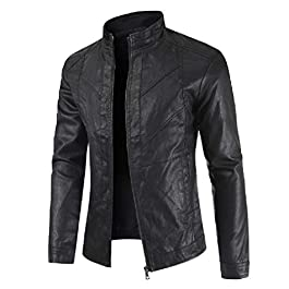 Howme Men's Slimming Big and Tall Patchwork PU Leather Moto Biker Jacket