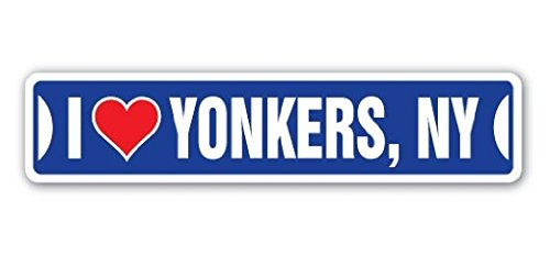 Ny Street Sign (I LOVE YONKERS, NEW YORK Street Sign Ny City State Us Wall Road DÃcor Gift - Sticker Graphic - Auto, Wall, Laptop, Cell Sticker)