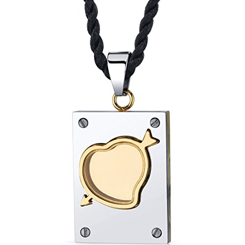 Mystic Love: Stainless Steel Two-tone Cupid Arrow Dog Tag Pendant - Dog Tag Tone Two